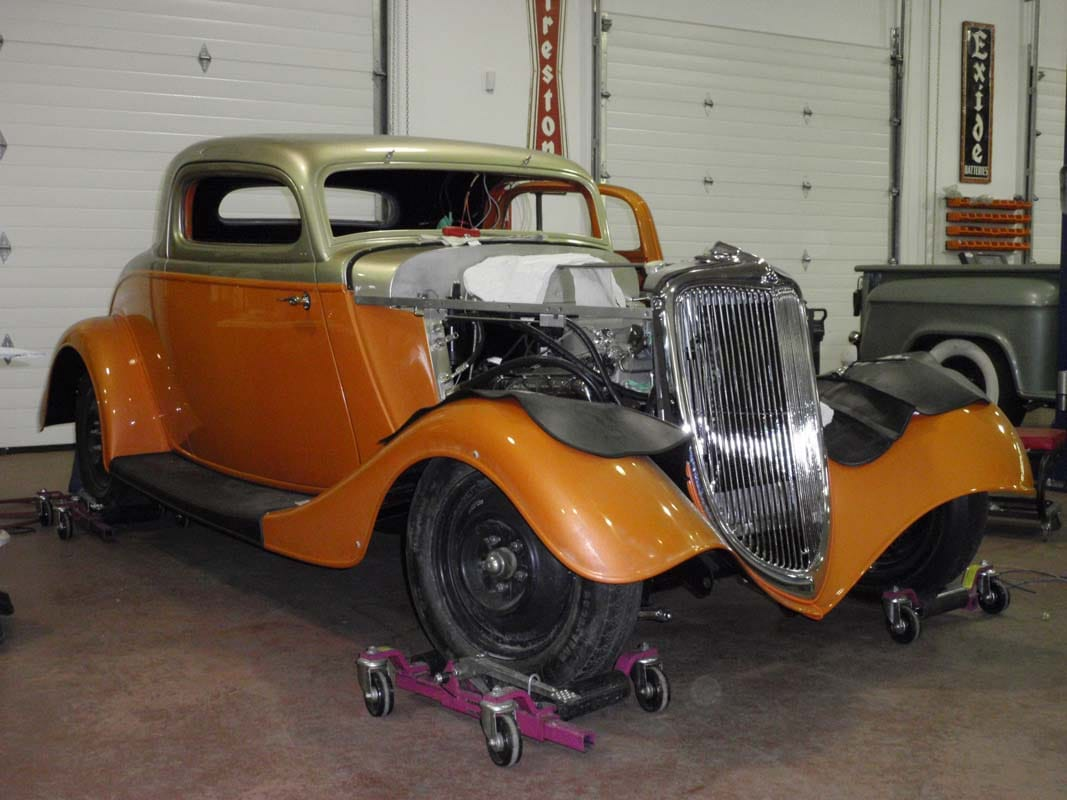 vintage car in the shop being restored