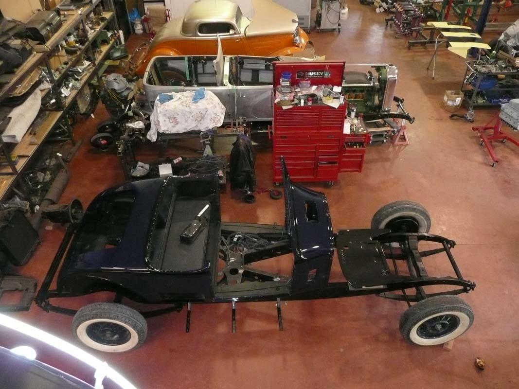 classic car in the shop