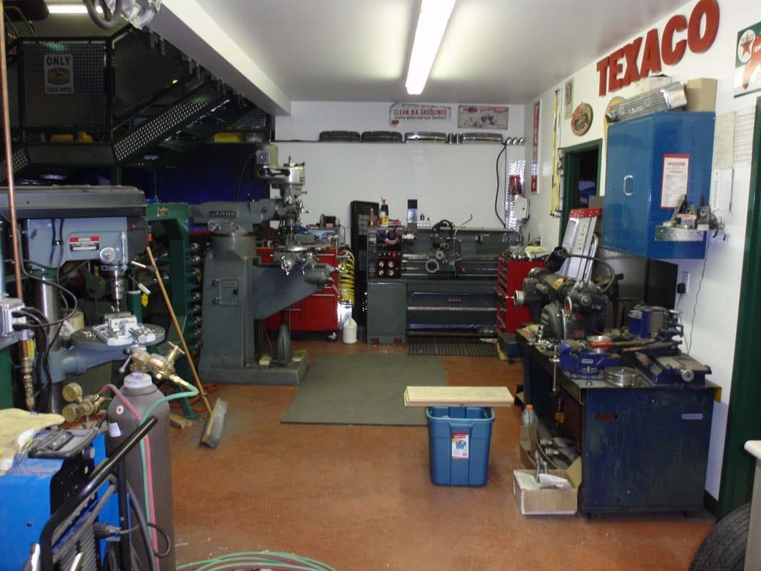 inside a classic car restoration shop