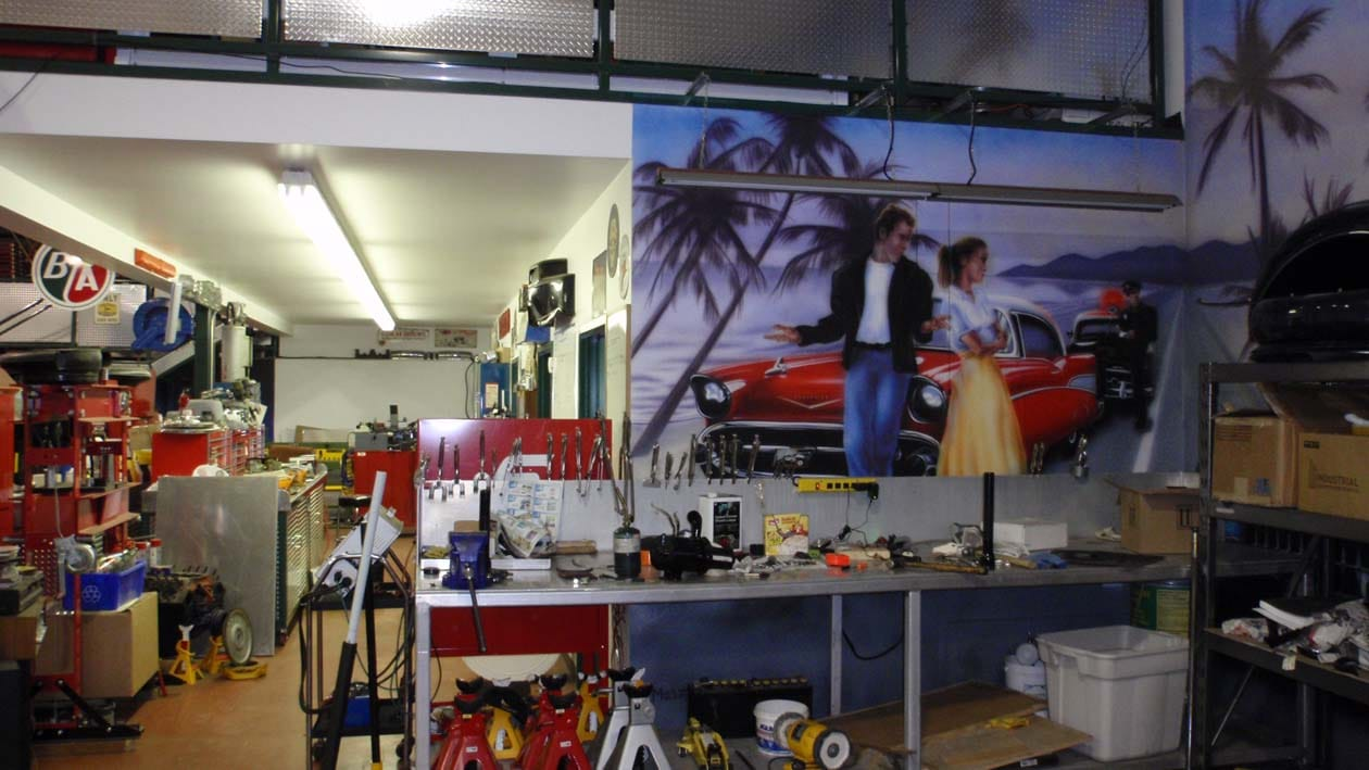 inside a hot rod shop