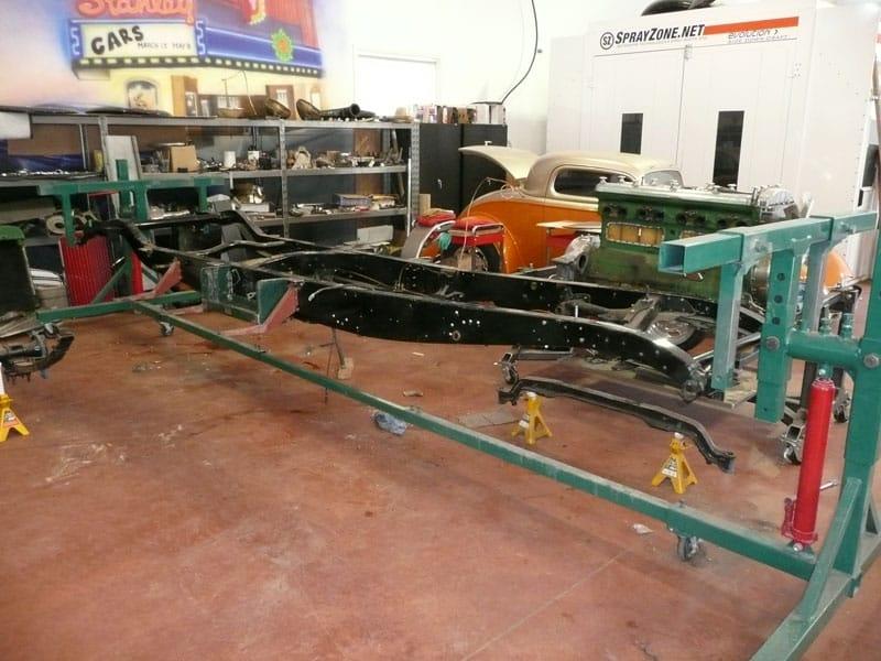 restoring a classic car in the shop